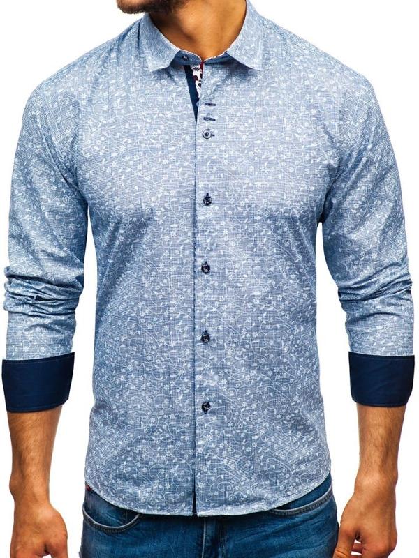 Мужская рубашка с узором с длинным рукавом темно-синяя Bolf 9701