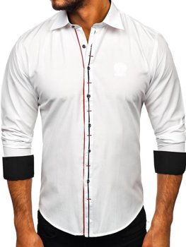 Мужская элегантная рубашка с длинным рукавом белая Bolf 1769-A