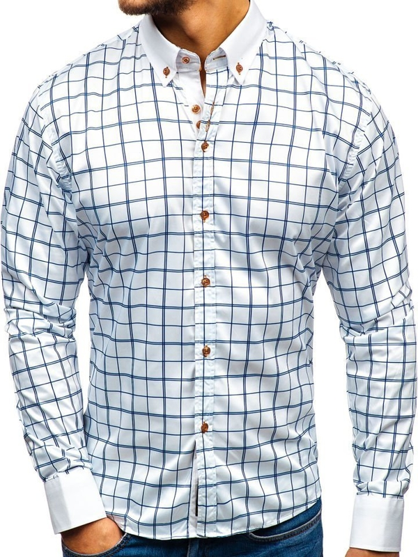 Мужская элегантная рубашка с длинным рукавом бело-темно-синяя Bolf 8842-1