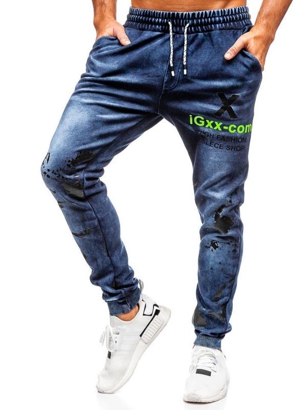 Мужские джинсовые брюки джоггеры темно-синие Bolf KK1061