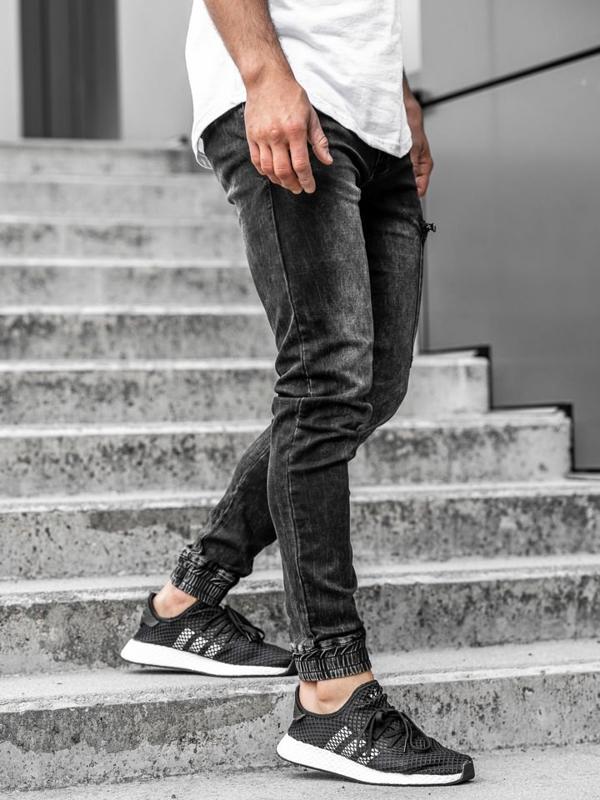 Мужские джинсовые брюки джоггеры черные Bolf  KA739