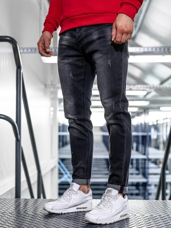 Мужские  джинсовые брюки slim fit черные Bolf KX312