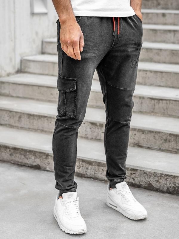 Мужские джинсовые джоггеры черные Bolf KK1110