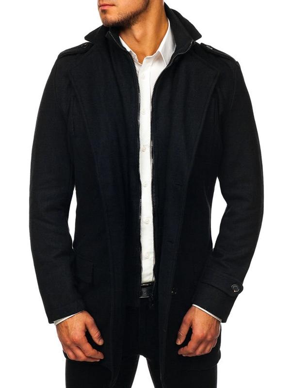 Мужское пальто зимнее черное Bolf NZ02