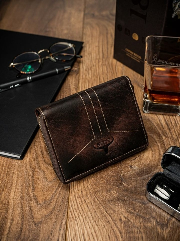 Мужской кожаный кошелек коричневый 1641