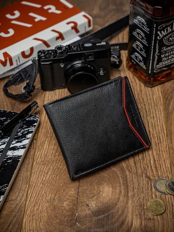 Мужской кожаный кошелек черно-красный 2055