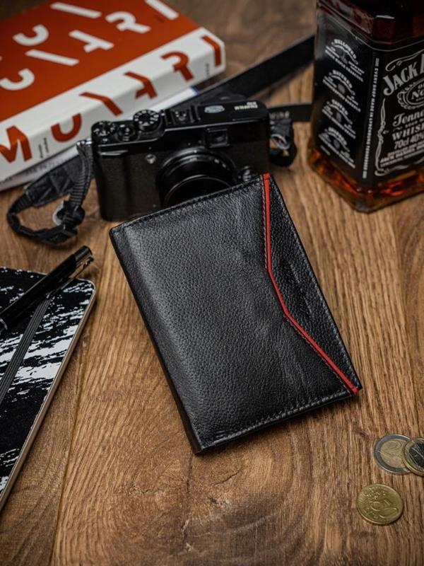 Мужской кожаный кошелек черно-красный 2057