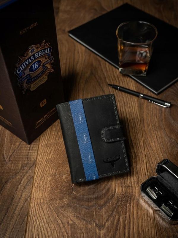Мужской кожаный кошелек черный 2225