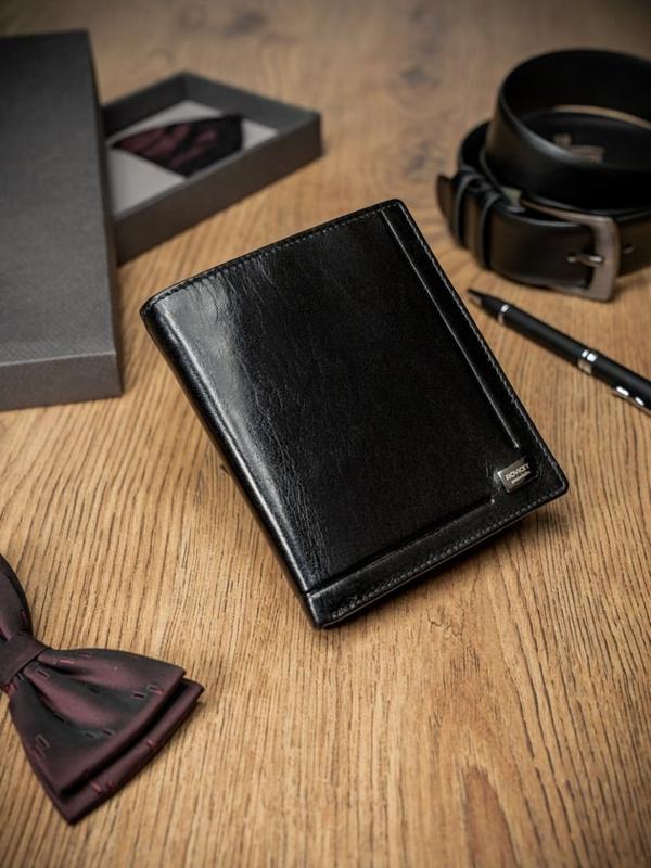 Мужской кожаный кошелек черный 238