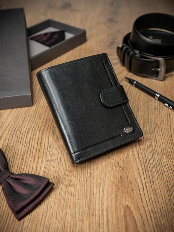 Мужской кожаный кошелек черный 411