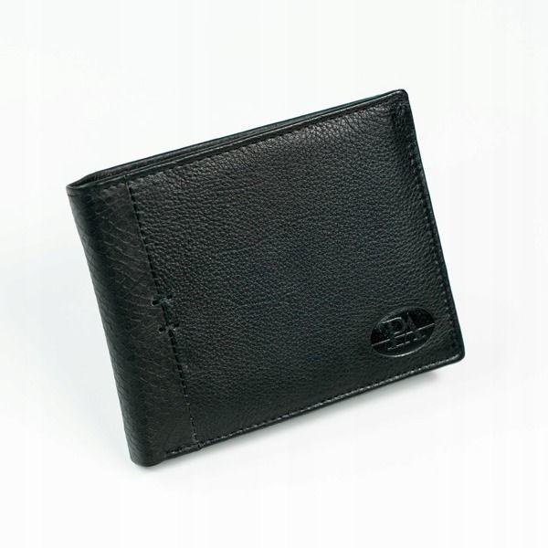 Мужской кожаный кошелек черный 874