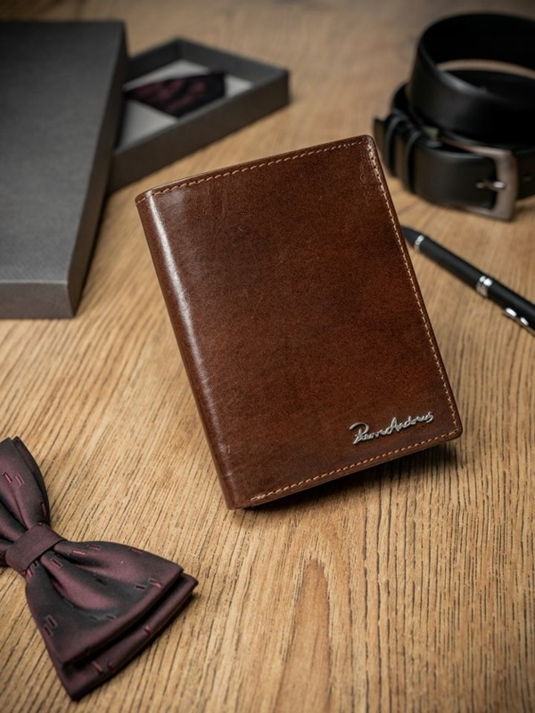 Мужской кошелек кожаный коричневый 1682