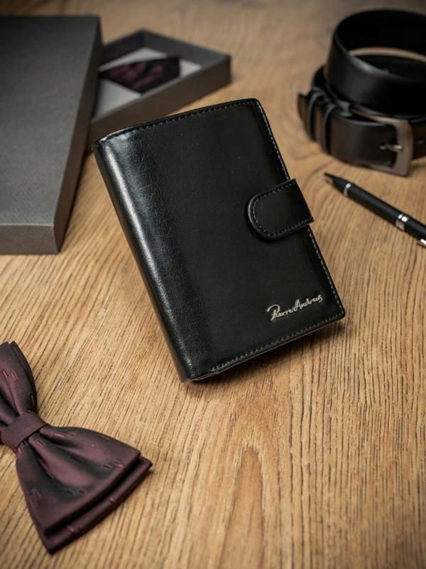 Мужской кошелек кожаный черный 1673