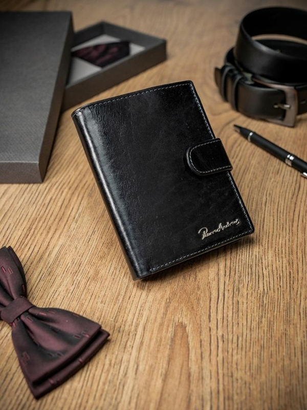 Мужской кошелек кожаный черный 1691