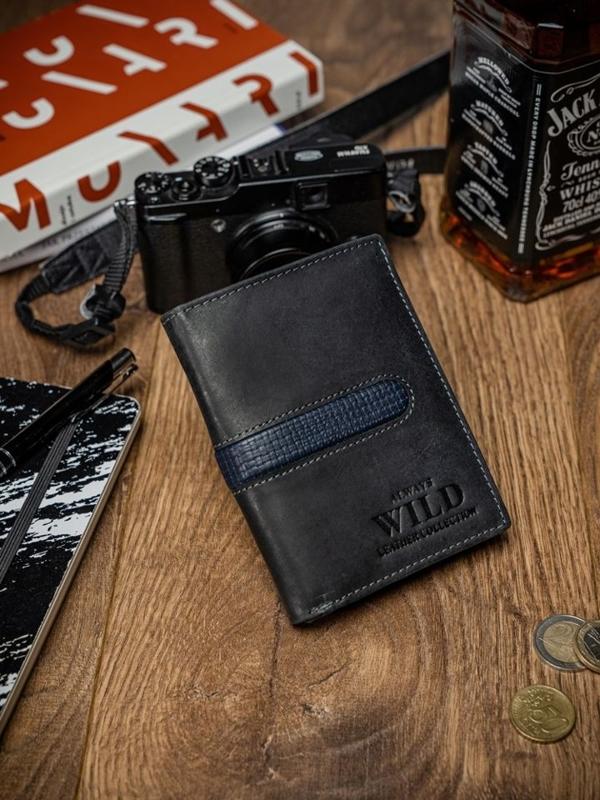 Мужской кошелек кожаный черный 2036