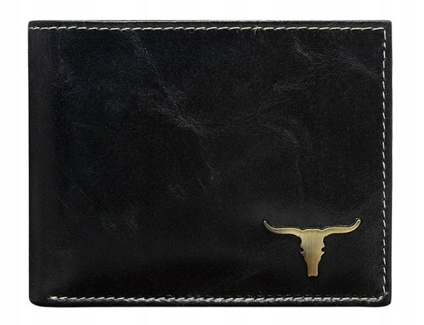 Мужской кошелек кожаный черный 37