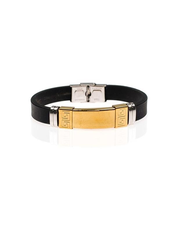 Мужской плоский браслет черный Bolf B044