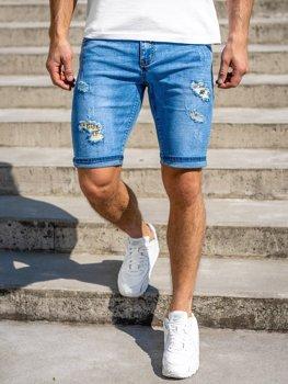 Темно-синие джинсовые мужские шорты Bolf KG3802