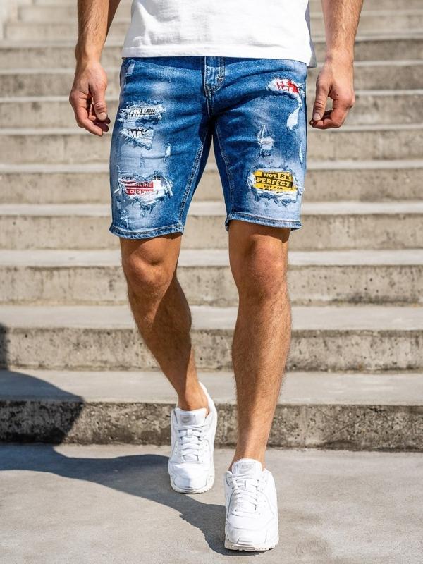 Темно-синие джинсовые мужские шорты Bolf KG3873