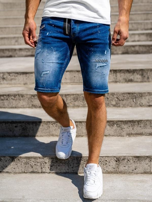 Темно-синие мужские джинсовые шорты Bolf 3004