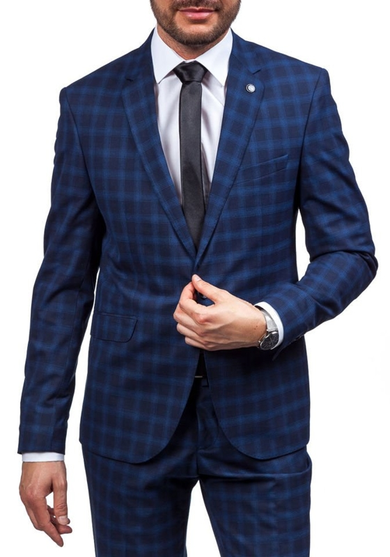 Темно-синий мужской костюм Bolf 5005-4
