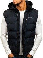 Черная мужская безрукавка с капюшоном Bolf 8260