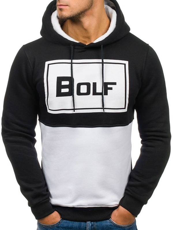 Черная мужская толстовка с капюшоном, с принтом Bolf 76