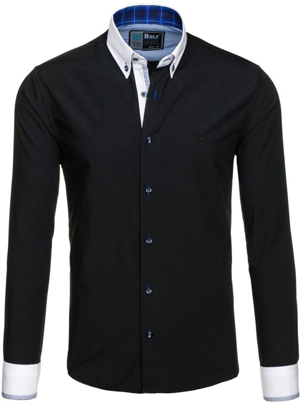 Черная мужская элегантная рубашка с длинным рукавом Bolf 5766-1