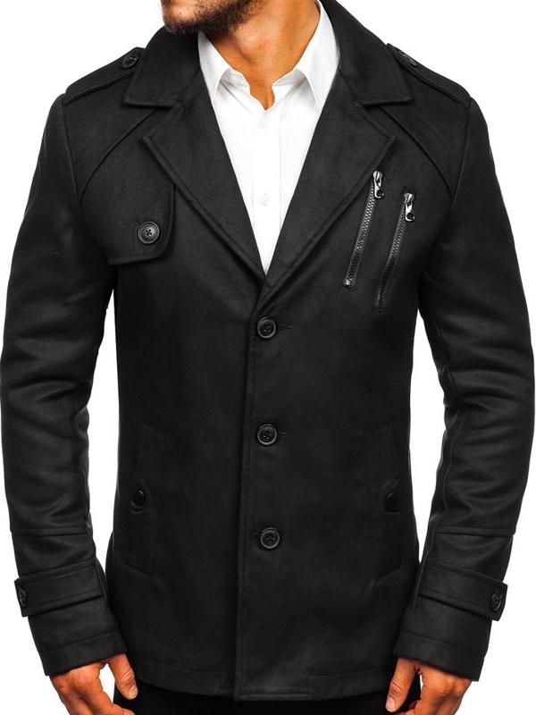 Черное мужское зимнее пальто Bolf 3135