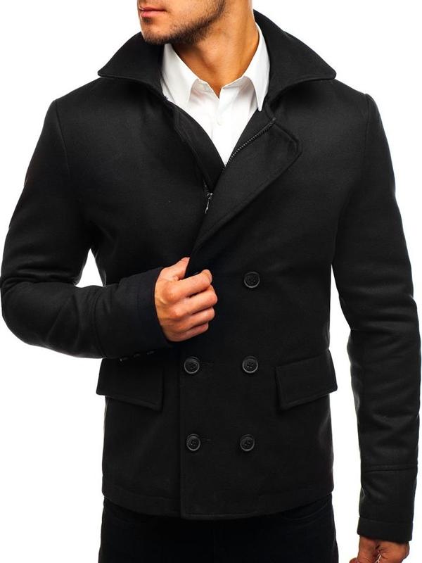 Черное мужское короткое зимнее пальто Bolf 3130