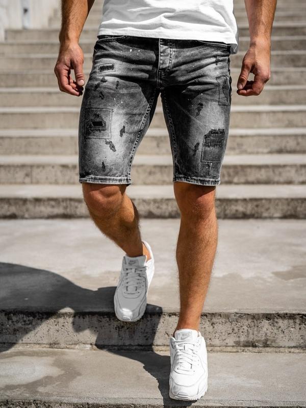 Черные мужские джинсовые шорты Bolf 3013