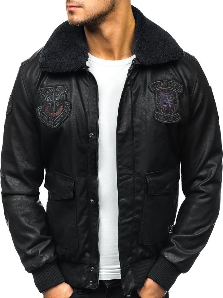 99dd0f8c3413a Мужская кожаная куртка пилот черная Bolf 4788