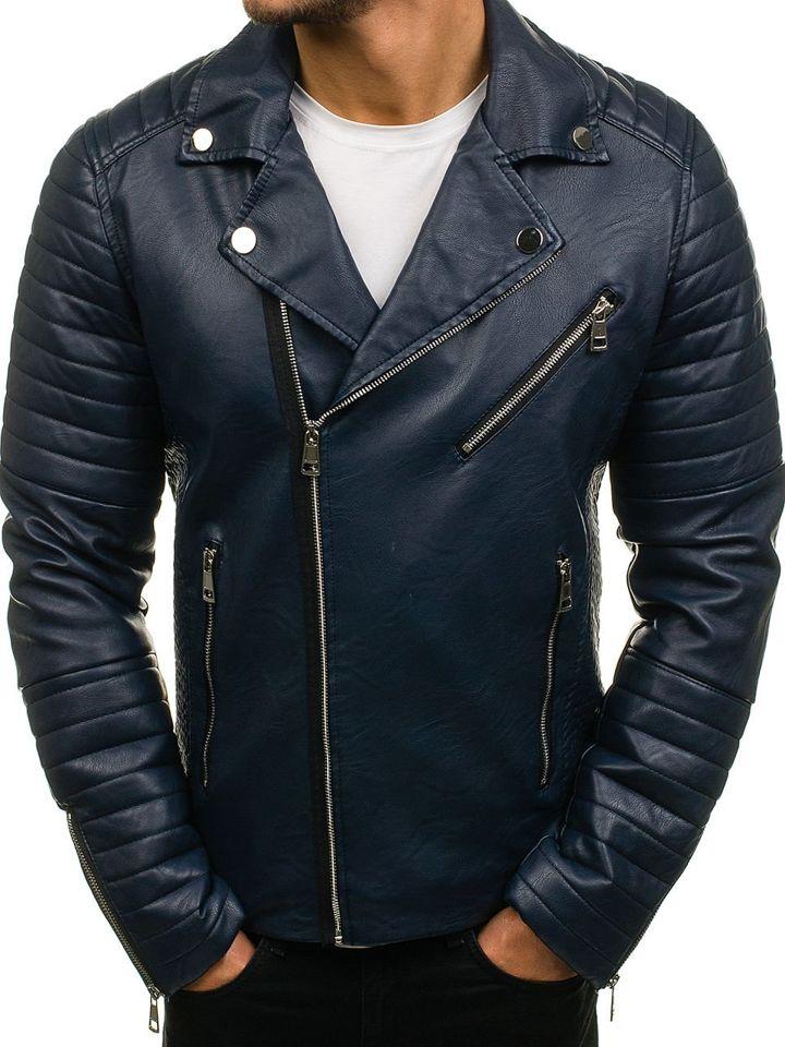 e15190ee4b4 Мужская кожаная куртка темно-синяя Bolf 4796 ТЕМНО-СИНИЙ