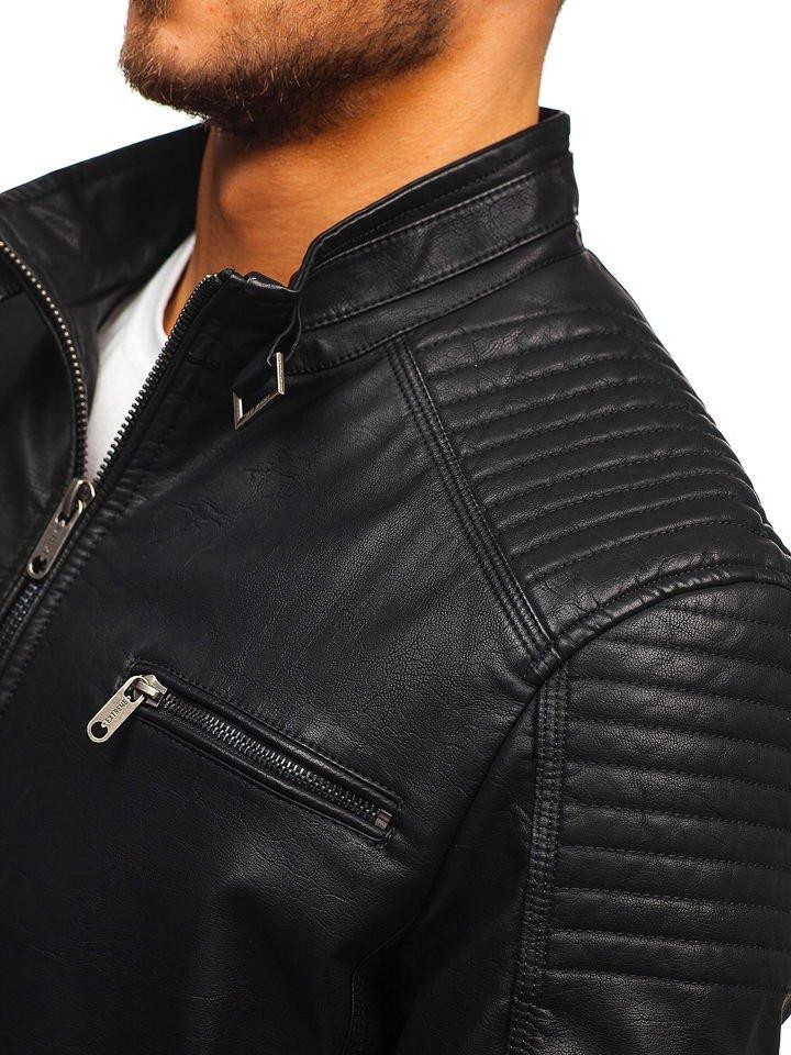 2af765dac98 Мужская кожаная куртка черная Bolf EX919