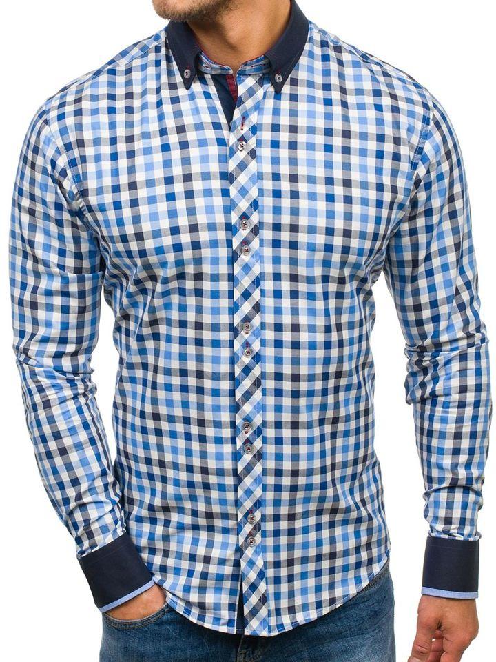 43f33009aa1 Мужская рубашка в клетку с длинным рукавом темно-синяя Bolf 8813 ...