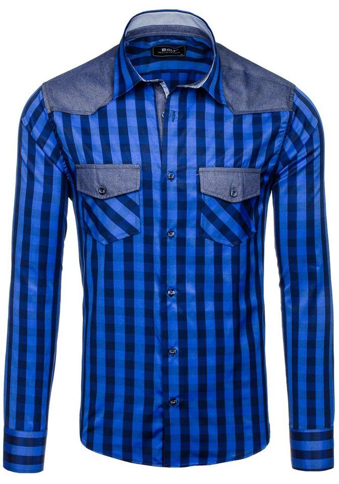 18ff3753bb8 Темно-синяя мужская рубашка в клетку с длинным рукавом Bolf 6904 ...