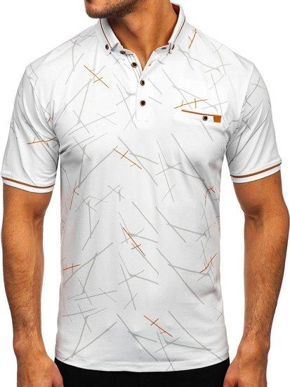 Белая мужская футболка поло с принтом Bolf 192280