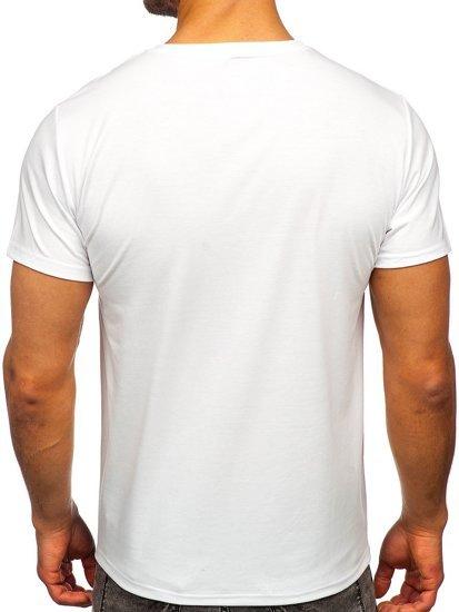Белая мужская футболка с принтом Bolf S10033