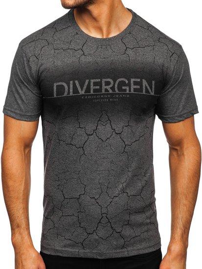 Графитовая мужская футболка с принтом Bolf 14424