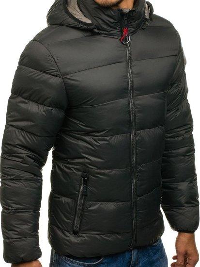 Зимняя мужская спортивная куртка графитовая Bolf 1113