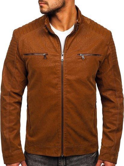 Куртка мужская кожаная коричневая Bolf EX927