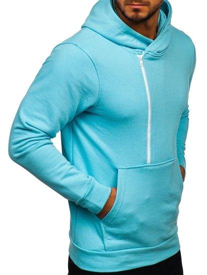 Мужская толстовка с капюшоном и принтом голубая  Bolf 01