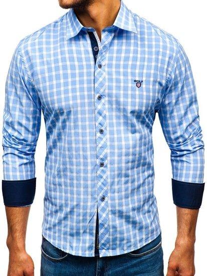 Мужская элегантная рубашка в клетку с длинным рукавом голубая Bolf 4747
