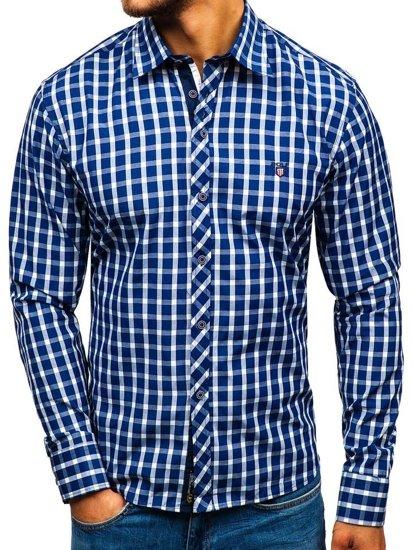 Мужская элегантная рубашка в клетку с длинным рукавом темно-синяя Bolf 4747
