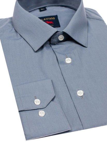 Мужская элегантная рубашка с длинным рукавом серая Bolf TS100