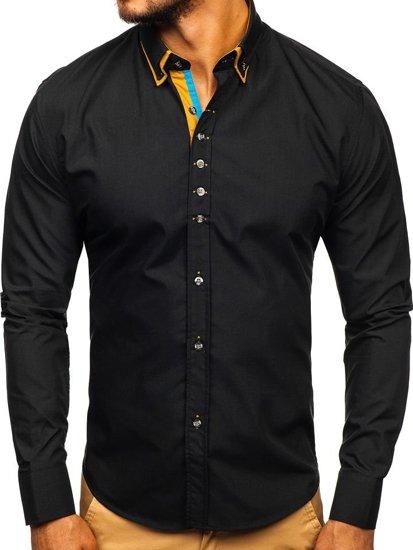 Мужская элегантная рубашка с длинным рукавом черная Bolf 3708