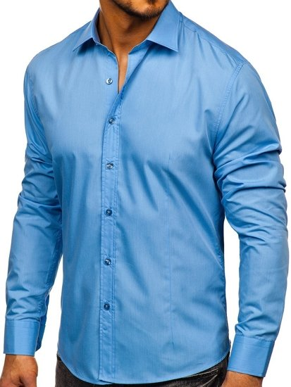 Рубашка мужская BOLF 1703 голубая