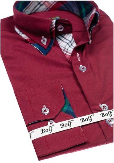 Рубашка мужская BOLF 4704 бордовая