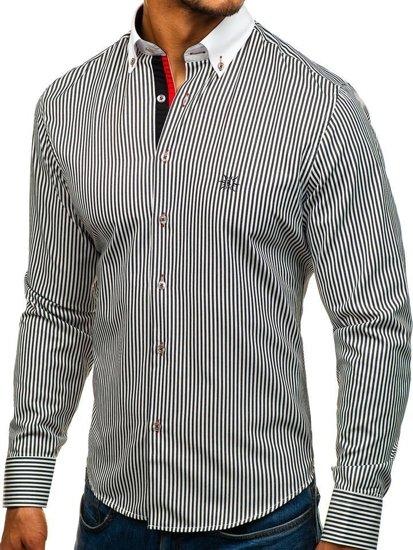 Рубашка мужская BOLF 5759 бело-черная