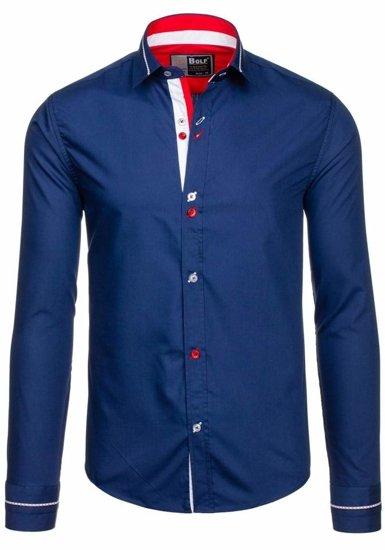 Рубашка мужская BOLF 5826 темно-синяя